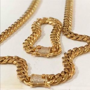 Other - New 18 k yellow gold Cuban link chain and bracelet